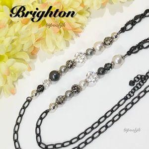Brighton Long Necklace Silver Gunmetal Pearl Faceted Crystals Contempo